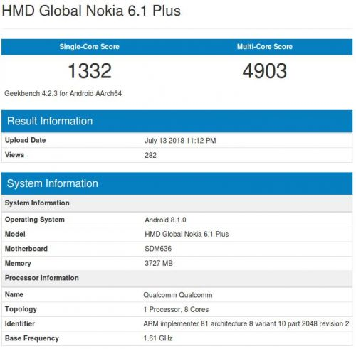 Nokia 6.1 Plus Hits Geekbench With SD636, 4GB of RAM & Oreo