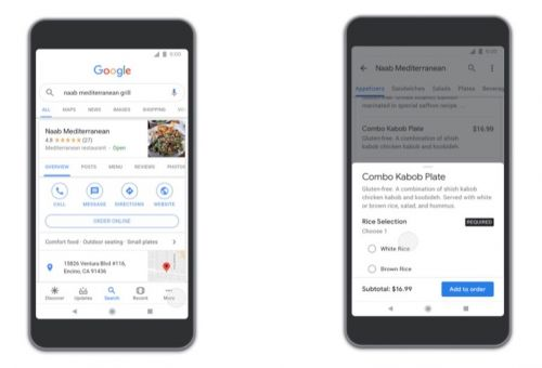 Food Ordering Features Now Available in Google's Mobile Apps