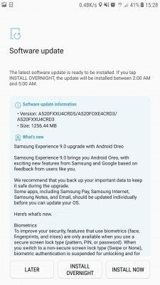 Android 8.0 Oreo Now Hitting Samsung Galaxy A5 (2017)