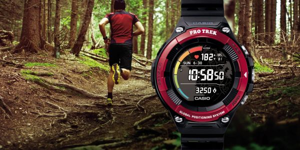 Casio's WSD-F21HR Wear OS smartwatch has a heart rate sensor, flat tire display
