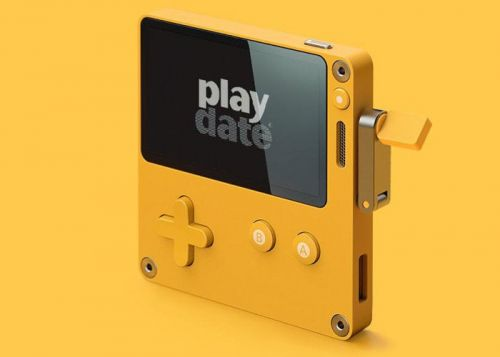 Playdate handheld console features a hand crank