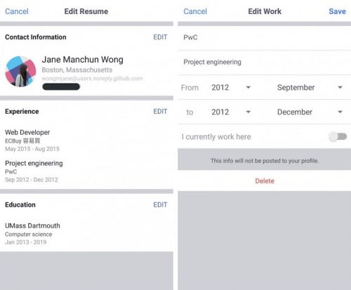 Facebook Begins Testing Résumé 'Work Histories' Feature on Mobile, Acquires Popular Teen App 'TBH'