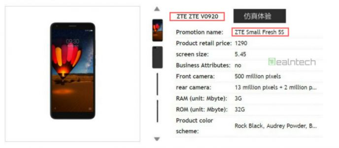 ZTE Small Fresh 5S Renders, Specs & Price Surface In China