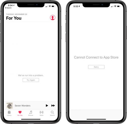App Store, iTunes Store, Apple Music and More Experiencing Downtime