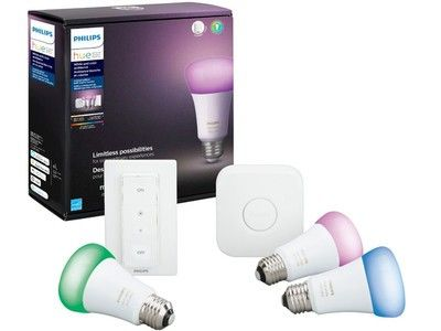 This Philips Hue kit includes three bulbs, a switch, and a hub for $120