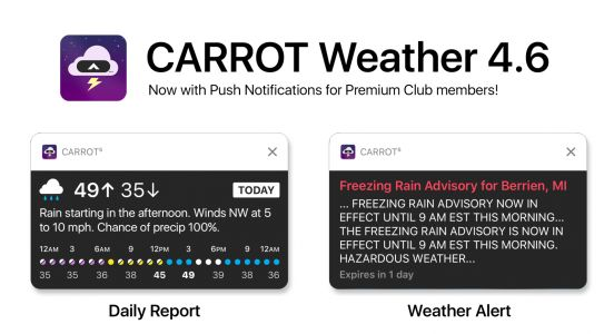 Carrot Weather updated with push notifications, new content, and more