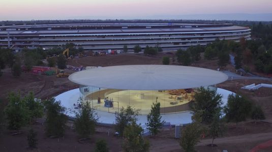 Steve Jobs Theater Includes Custom-Made Rotating Elevators and Retractable Wall Hiding Demo Area