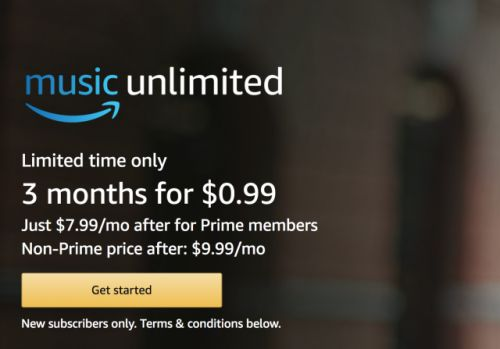 Get three months of Amazon Music Unlimited for $0.99
