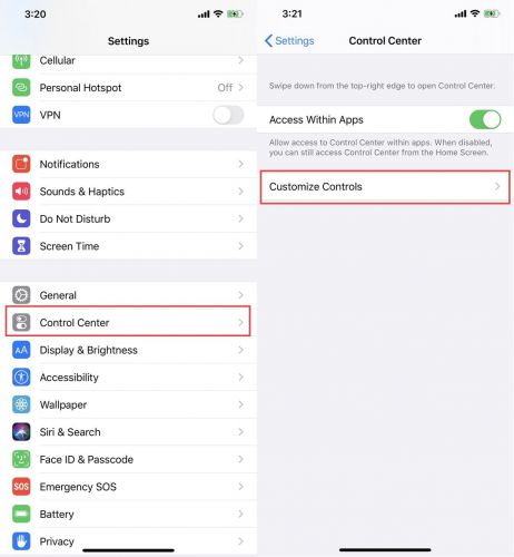 How To Customize The iPhone's Control Center