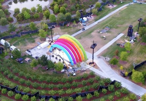 Apple Park Decorated With Rainbow Colors in Celebration of Steve Jobs and Formal Opening of Campus
