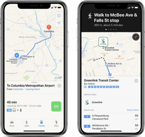 Apple Maps Transit Directions Now Available in Columbia, Charleston, and Greenville Areas of South Carolina