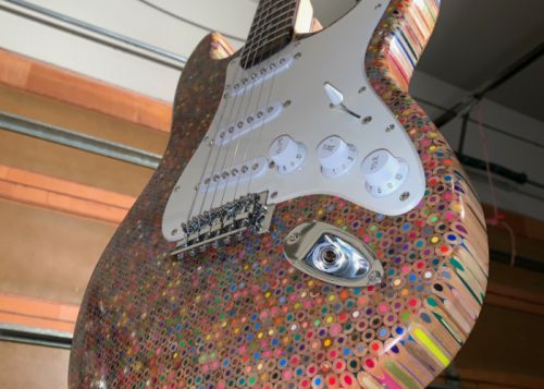 Guitar made from 1,200 colour pencils and a Ducttape snowboard