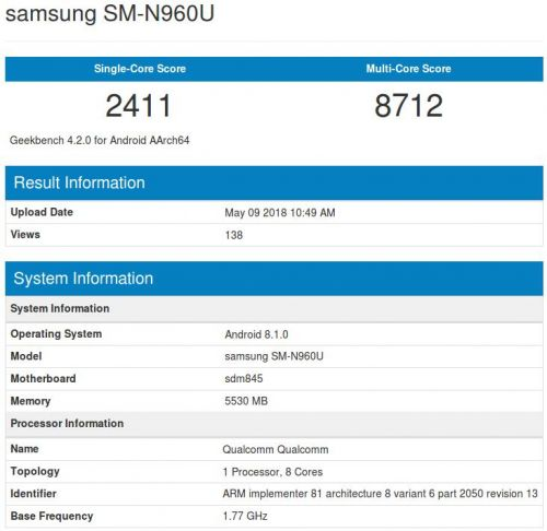 Galaxy Note 9 Appears On Geekbench With SD845, 6GB Of RAM