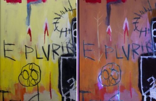 Conservator finds secret drawings in invisible ink in Basquiat painting