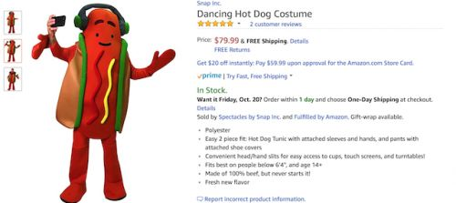 Snapchat Dancing Hot Dog Costume Now Available For $80 On Amazon