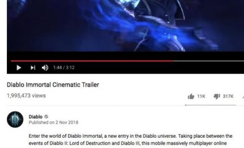 'Dislikes' Are Disappearing From Diablo Immortal's YouTube Trailer