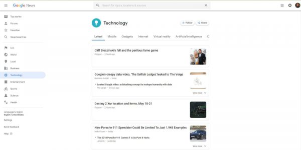 Google Material Theme update for Google News on the web rolling out now