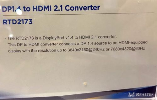 Realtek Demonstrates RTD2173 DisplayPort 1.4 to HDMI 2.1 Converter