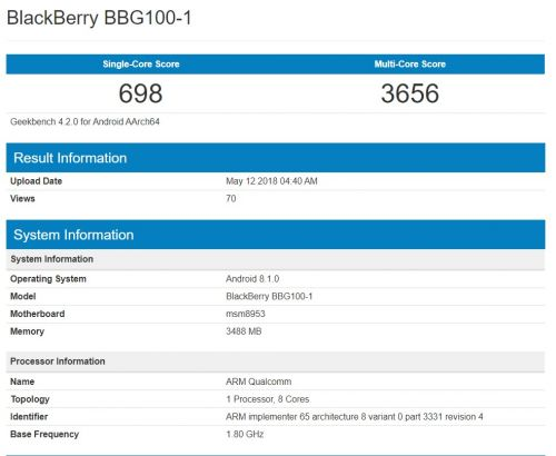 New BlackBerry Android Phone With Snapdragon 625 Benchmarked