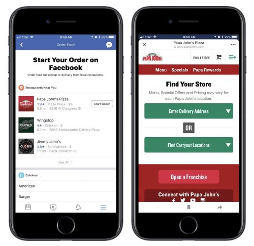 You Can Now Order Food From Papa John's, Five Guys, and More Within Facebook on iOS