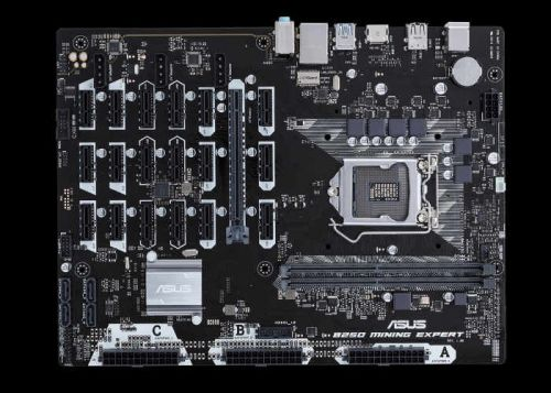 ASUS B250 Bitcoin Mining Motherboard Offers 19 PCIe Slots