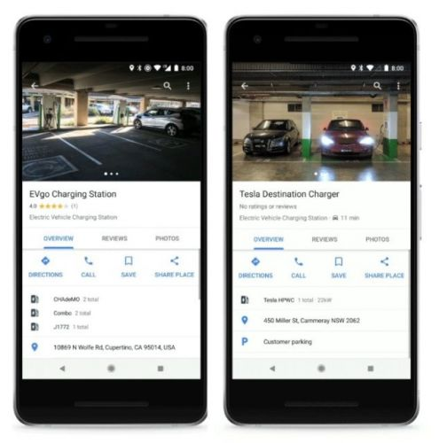 Google Adds EV Charging Station Info To Google Maps