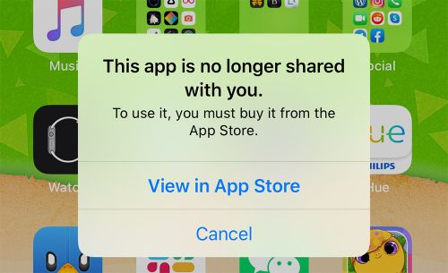 IOS Bug Preventing Some Apps From Opening With 'This App is No Longer Shared' Message