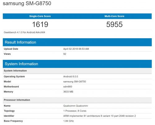 Alleged Samsung Galaxy S9 Mini Benchmarked With SD660