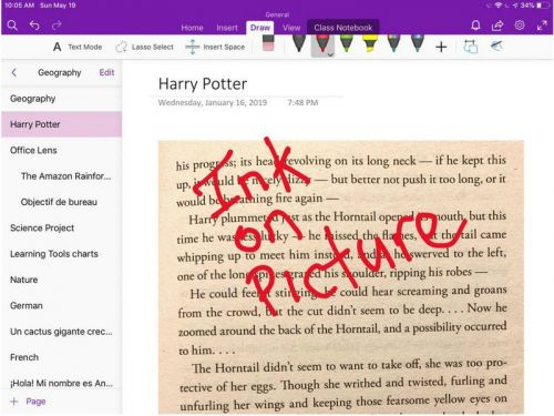 OneNote for iPhone and iPad now lets you ink over background pictures