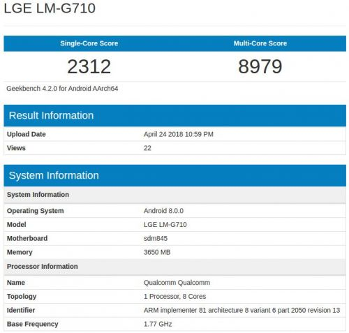 LG G7 ThinQ Hits Geekbench With 4GB Of RAM, SD845 SoC