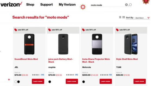 Verizon Discounting Nearly All Of Its Moto Mods By 50%