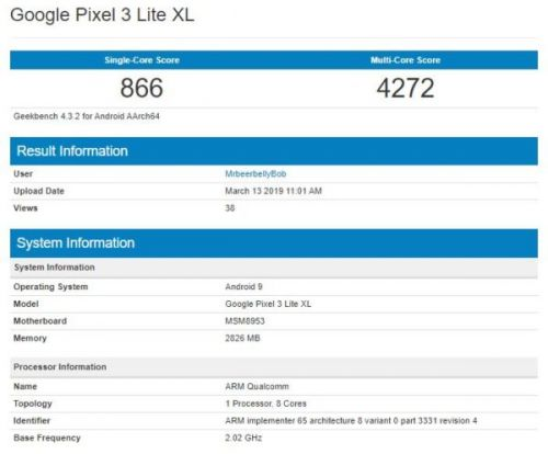 Google Pixel 3 XL Lite Benchmarked With Ancient Chipset