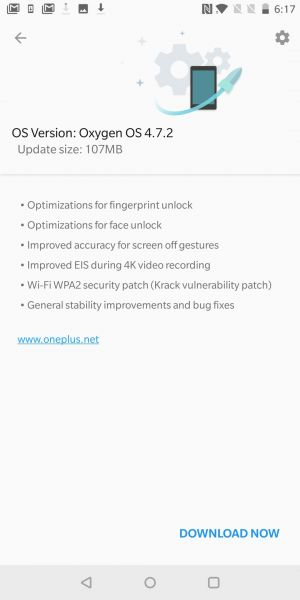Oxygen OS 4.7.2 Rolling Out To OnePlus 5T With KRACK Fix