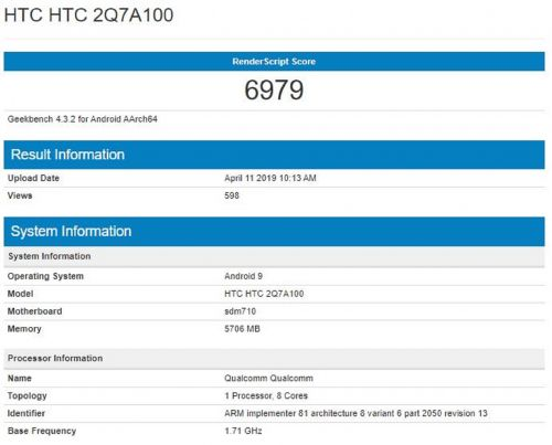 HTC Is Back, New Snapdragon 710-Powered Phone Appears