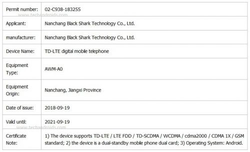 Black Shark 2 Gaming Handset Gets Certified, Design Revealed