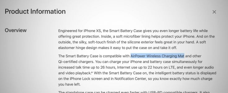 'AirPower Wireless Charging Mat' was briefly mentioned in the iPhone XS Battery Case website description