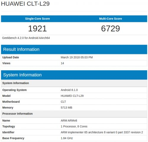 Huawei P20 Pro Hits Geekbench With 6GB Of RAM, Android 8.1