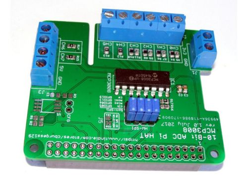 Raspberry Pi 8 Channel ADC HAT For Analog-To-Digital Conversions