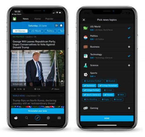Reddit Rolls Out Customizable News Tab to Most Users of its Official iOS App