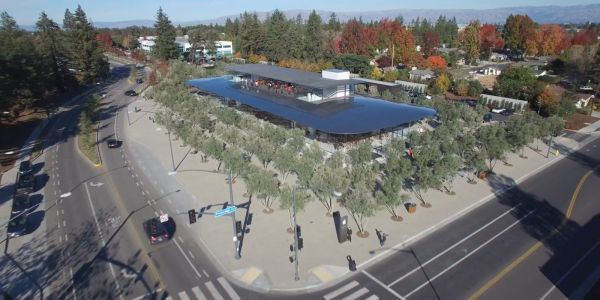 4K drone footage captures Apple Park Visitor Center from the sky, on site work nearing completion