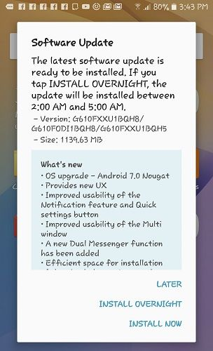 Samsung Galaxy On Nxt Is Now Getting Android 7.0 Nougat