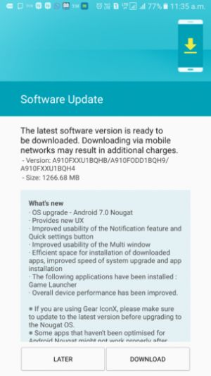 Samsung Galaxy A9 Pro Receiving Android 7.0 Nougat in India