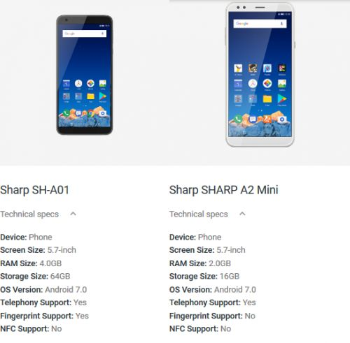 Two Sharp Smartphones Appear On Android Official Website