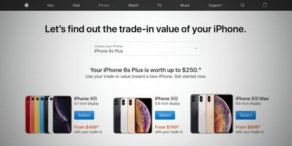 Apple continues iPhone XS and iPhone XR promo with trade-in price comparison page