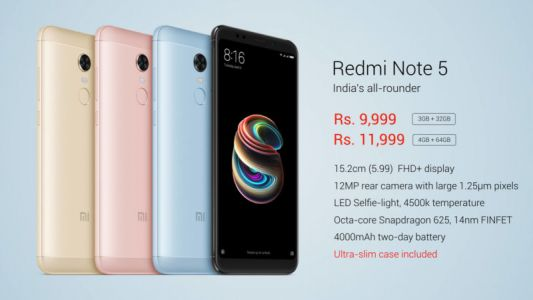 Xiaomi Unveils Redmi Note 5 With Snapdragon 625, 4GB Of RAM