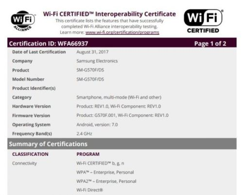 Galaxy J5 Prime Gets Wi-Fi Certified With Nougat On Top