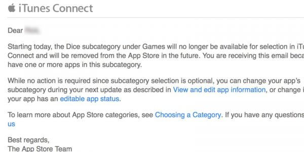 Apple removes Dice Games, Educational Games, and Catalogs categories from App Store