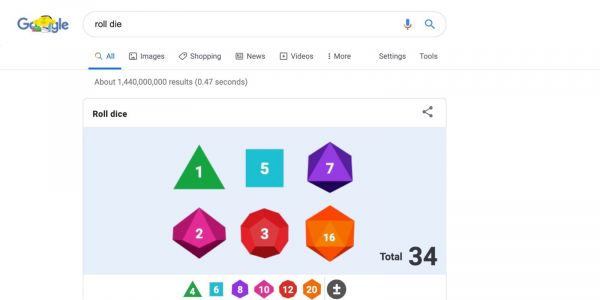 Google Search adds multi-sided die to built-in rolling tool