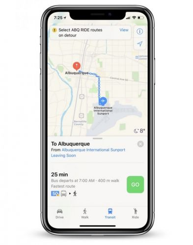 Apple Maps Adds Transit Directions in Albuquerque, New Mexico