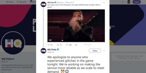 HQ Trivia sees multiple glitches in live contests